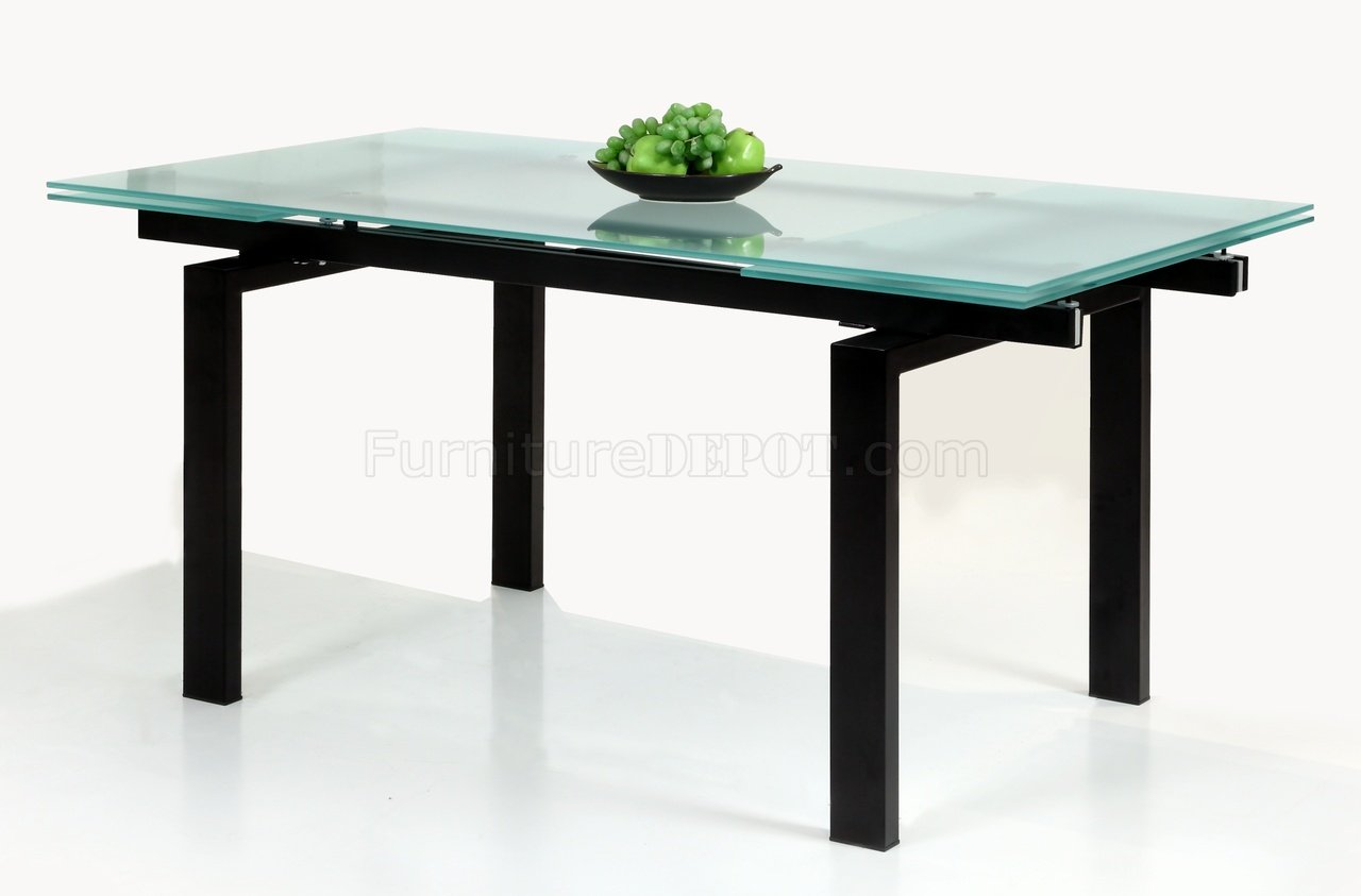 Glass Table Extendable Top Modern Dining Table W/Optional