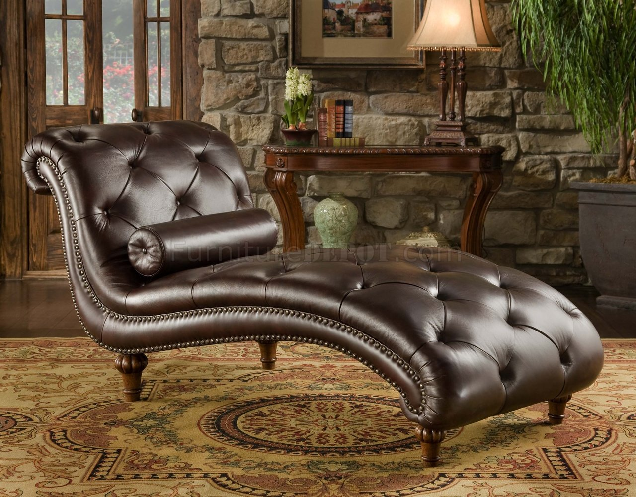 Leather Chaise Lounge Chair Rich Brown Top Grain Tufted Leather Traditional Chaise Lounge