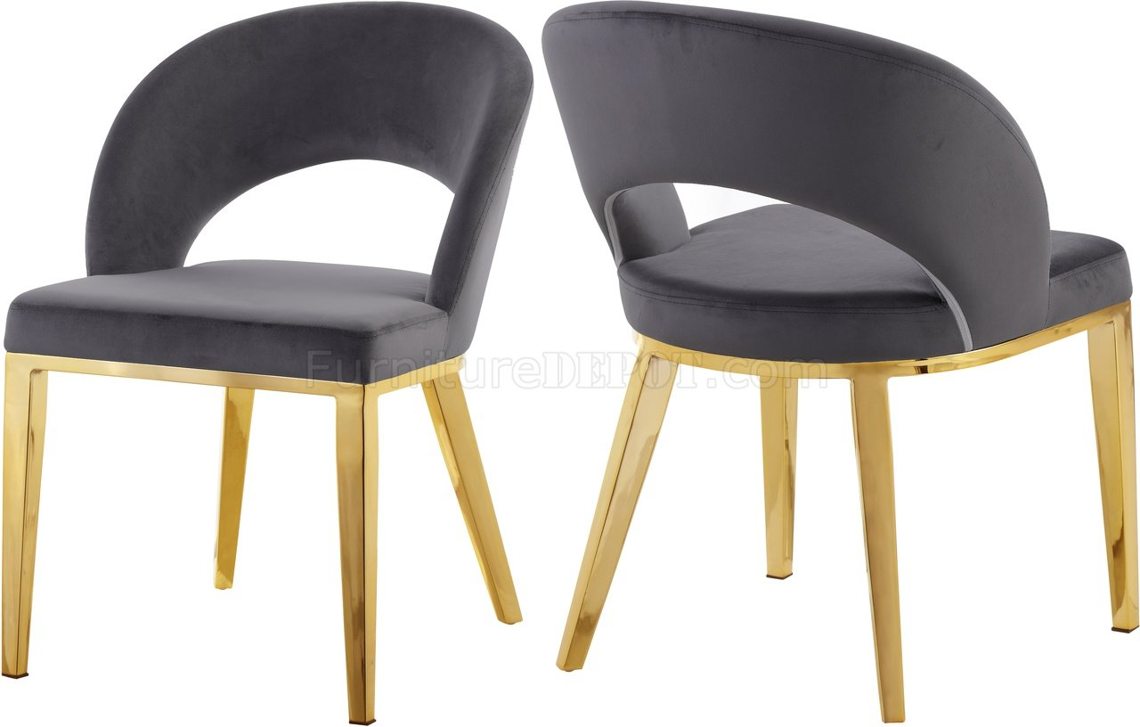 Roberto Dining Chair 765 Set Of 2 Grey Velvet Fabric