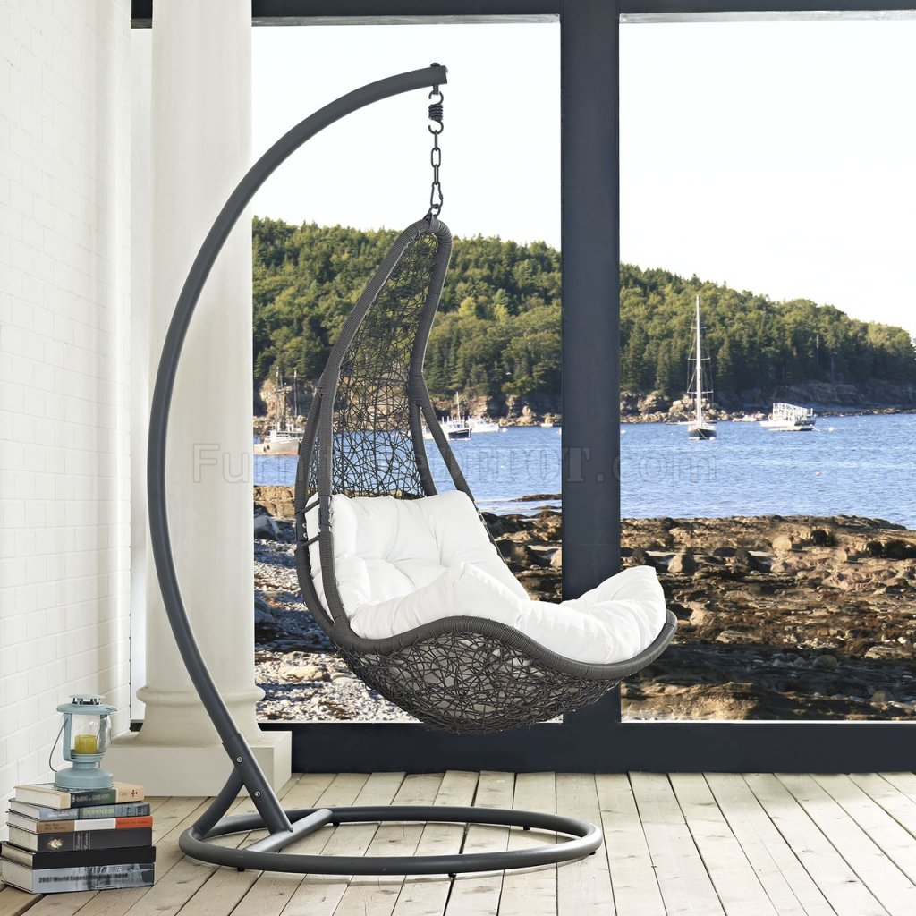 Patio Swing Chair Abate Outdoor Patio Swing Chair In Gray And White By Modway
