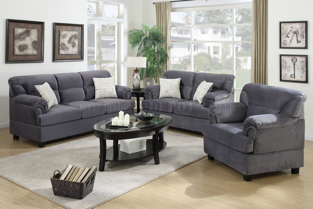 F7916 Sofa, Loveseat & Chair Set In Grey Fabric By Poundex
