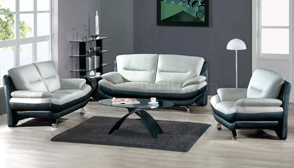 TwoToned Grey  Black Leather 7068 Contemporary Living Room