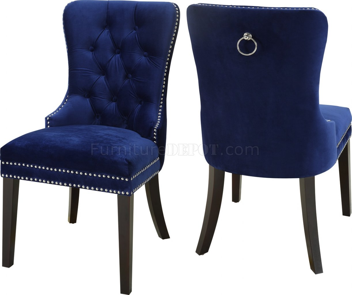 Navy Dining Room Chairs Nikki Dining Chair 740 Set Of 2 Navy Velvet Fabric By Meridian