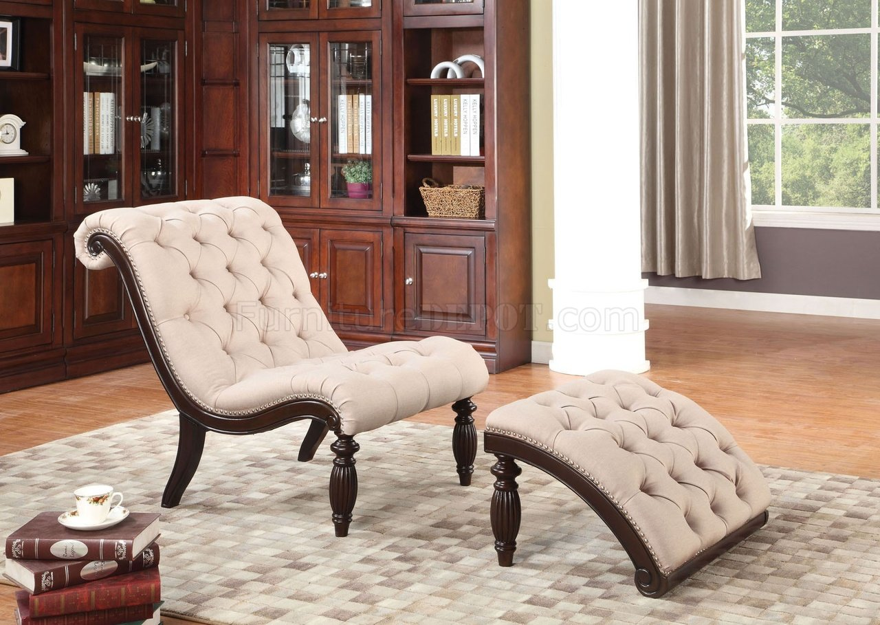 Chairs With Ottoman 96200 Kirby Chair Ottoman In Beige Fabric By Acme