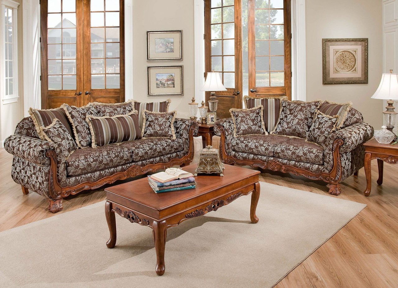 Chairs Living Room Textured Fabric Traditional Living Room W Carved Wood Accents