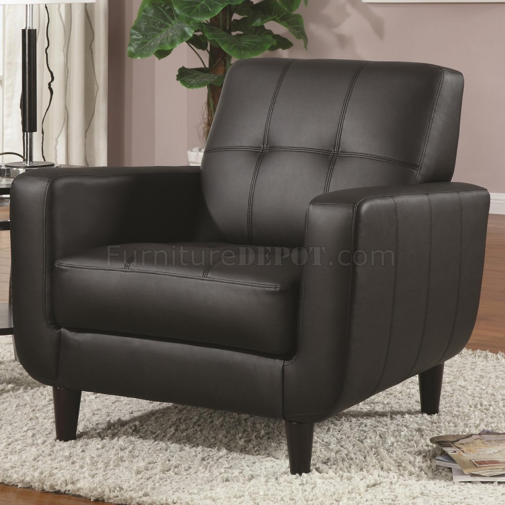 Set Of Accent Chairs 900204 Accent Chair Set Of 2 In Black Leatherette By Coaster