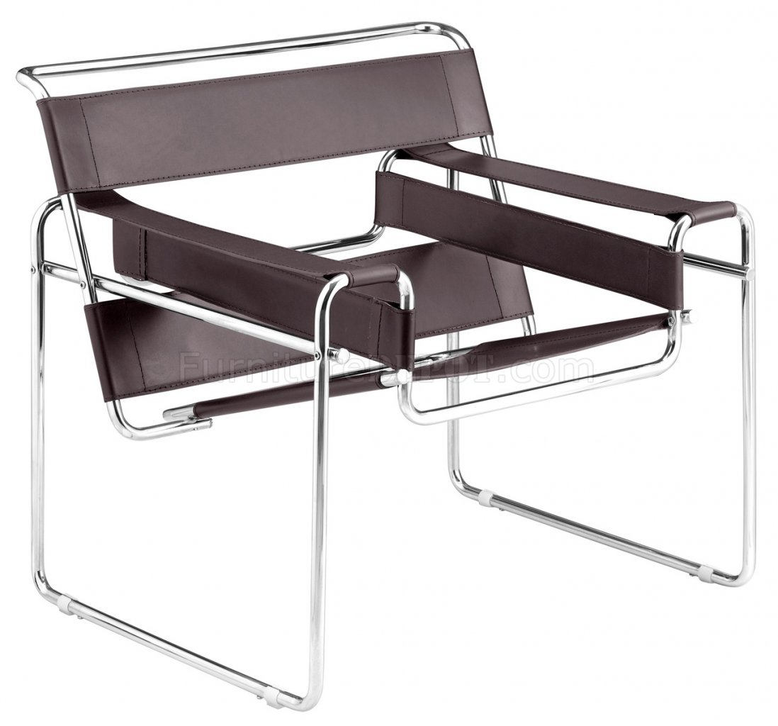 Tube Chair Wassily Chair Replica Leatherette Chair W Chrome Steel
