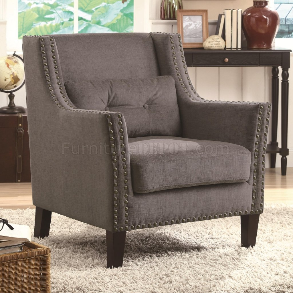 Set Of Accent Chairs 902170 Accent Chair Set Of 2 In Grey Chenille Fabric By