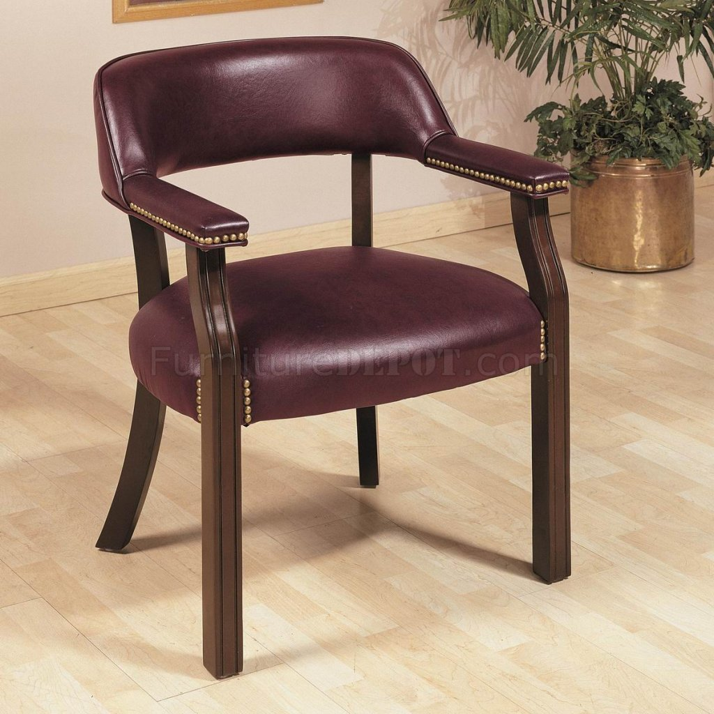 Burgundy Office Chair Burgundy Vinyl Classic Commercial Office Chair W Nailhead Trim