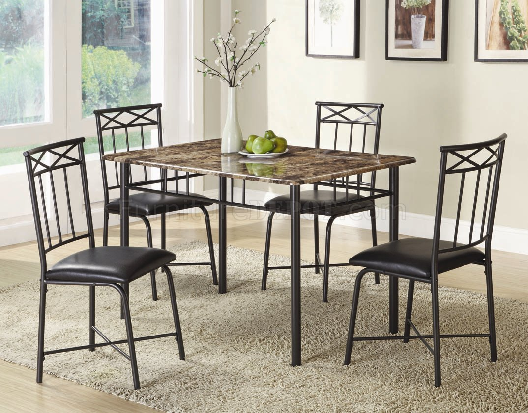 Black Metal Dining Chairs Faux Marble Top And Black Metal Legs Modern 5pc Dinette Set