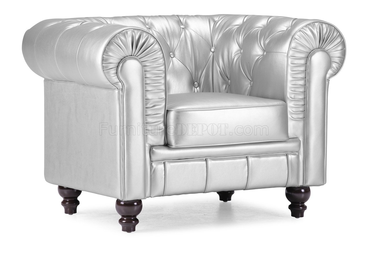 Silver Chairs Silver Tufted Leatherette Contemporary Living Room Sofa