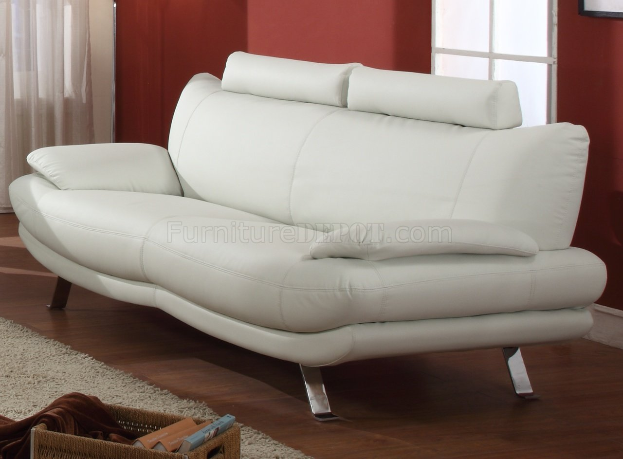 White Modern Chair White Full Bonded Leather Modern Sofa W Optional Chair