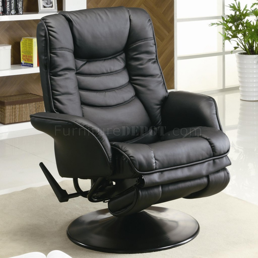Swivel Recliner Chair Black Leatherette Modern Swivel Recliner Chair W Round Base