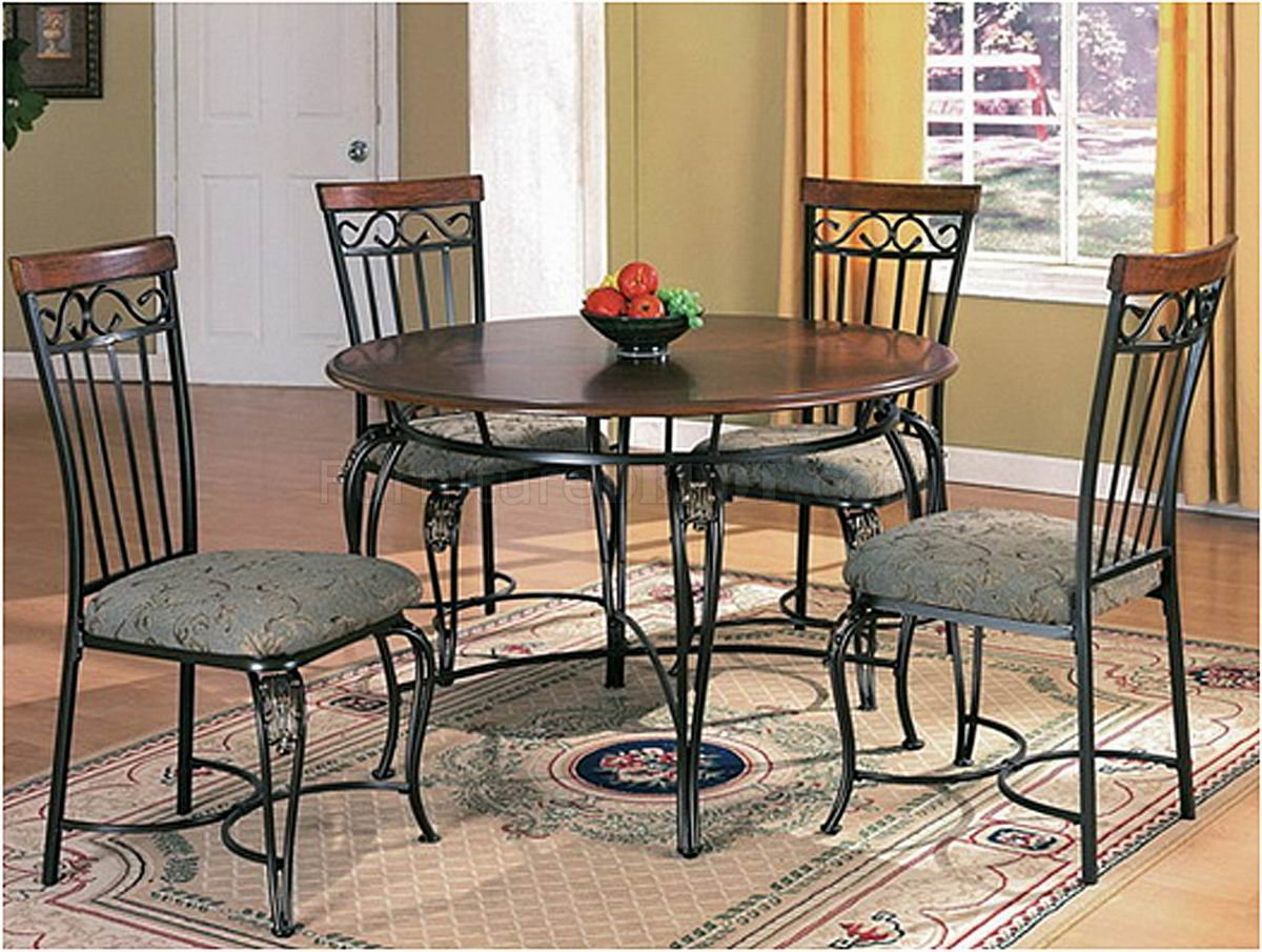 Wood And Metal Dining Chairs Wood Top And Metal Base Classic Dining Table W Optional Chairs