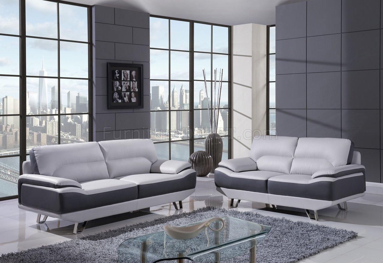 U7330 Sofa In Light & Dark Grey Bonded Leather By Global