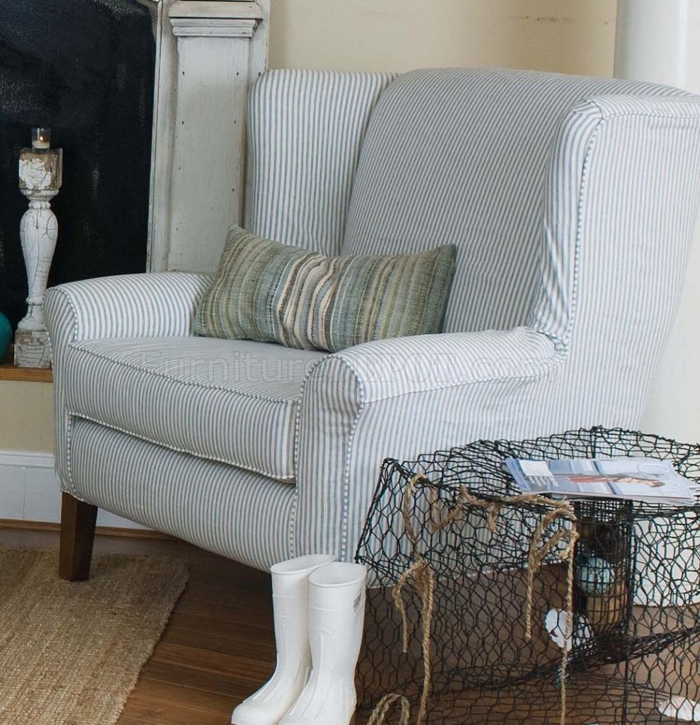 Blue And White Striped Chair Blue White Striped Fabric Classic Sofa Oversize Chair