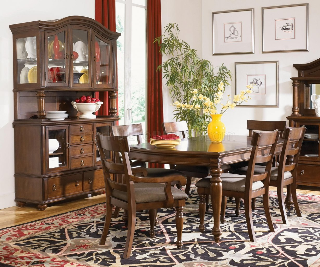 Traditional Dining Room Chairs Rich Brown Cherry Finish Traditional 8pc Dining Room Set