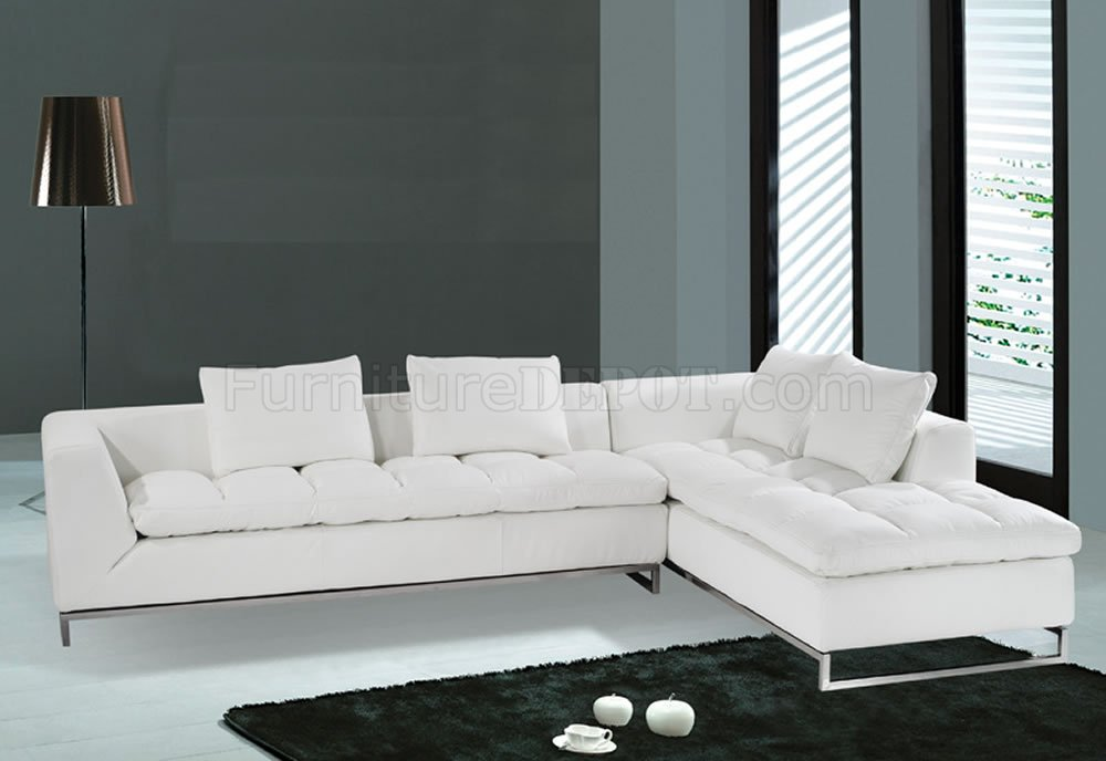F32 Sectional Sofa. White Leather. Model F-32