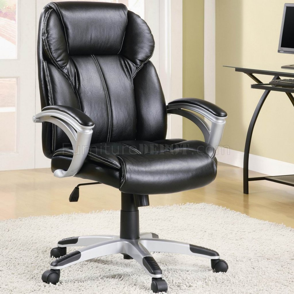 Contemporary Office Chairs Black Faux Leather Modern Office Chair W Gas Lift And Padded