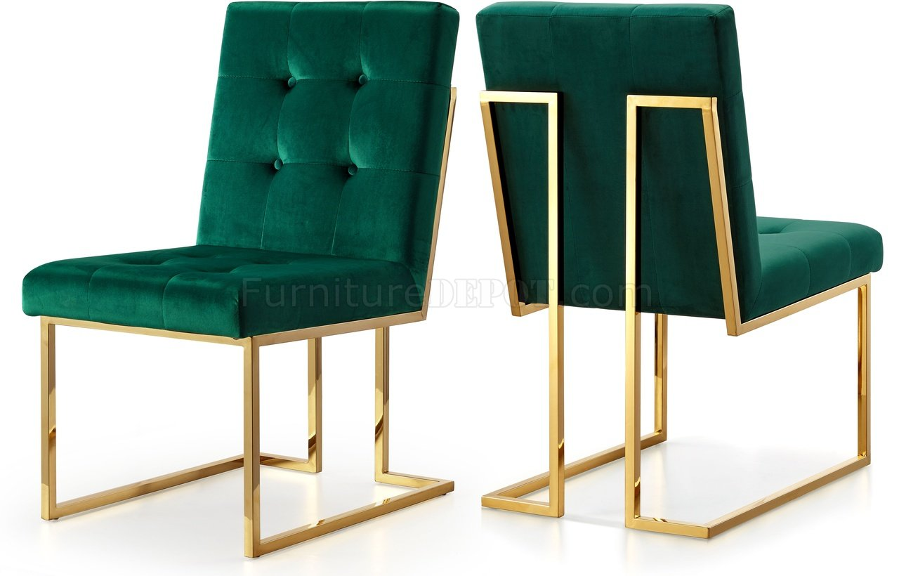 Green Velvet Dining Chairs Pierre Dining Chair 714 Set Of 2 Green Velvet Fabric By