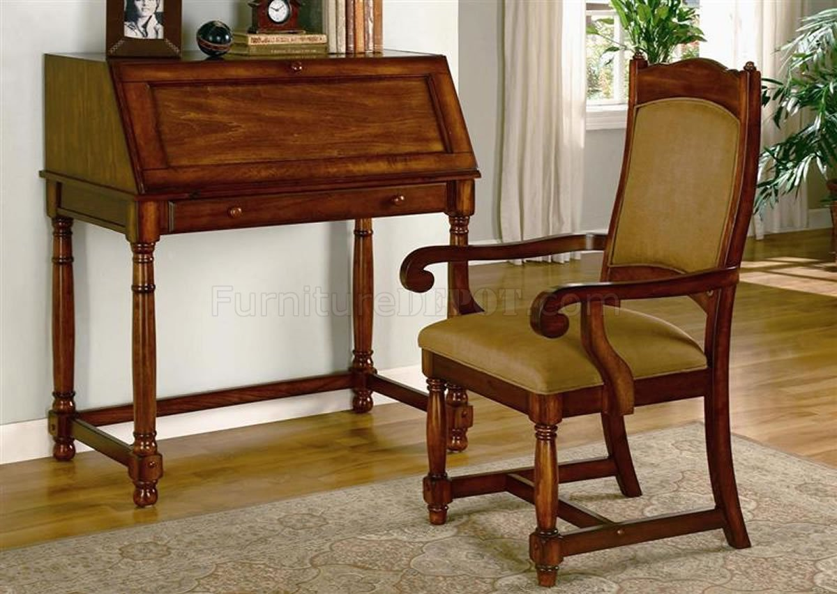 Cherry Chairs Lustrous Brown Cherry Finish Secretary Desk W Optional Chair