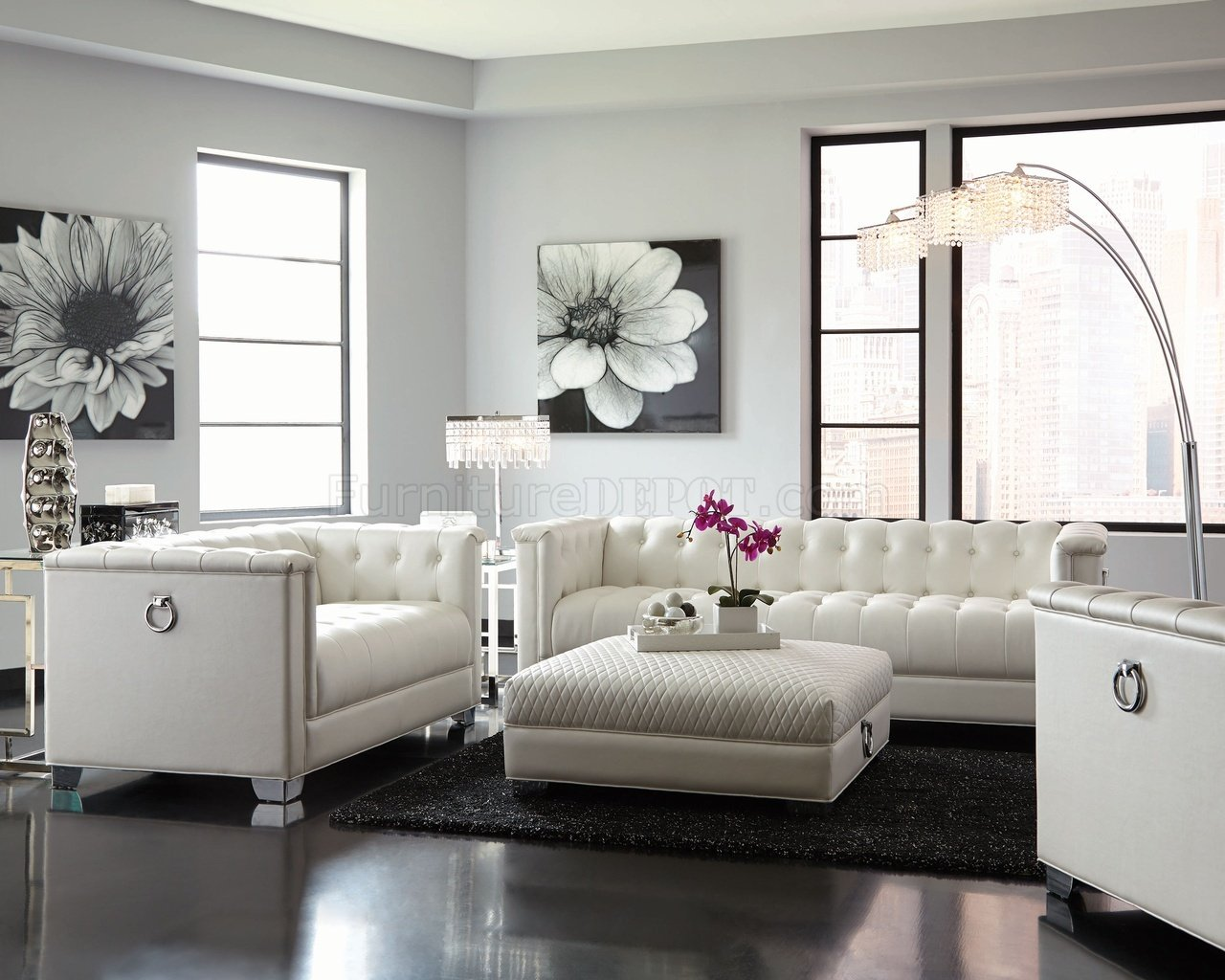 Chaviano Sofa In White Leatherette 505391 By Coaster W/Options