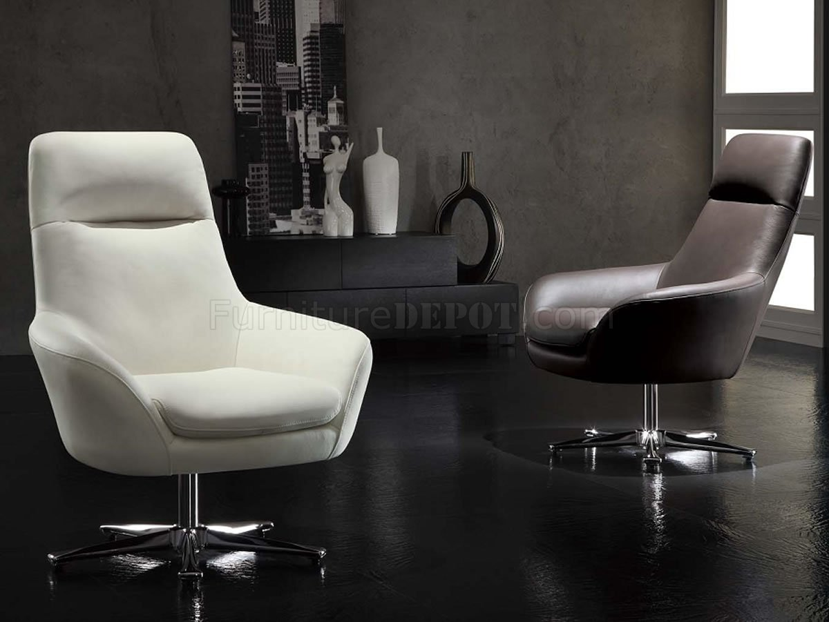 White Modern Chair White Full Italian Leather Modern Swivel Chair