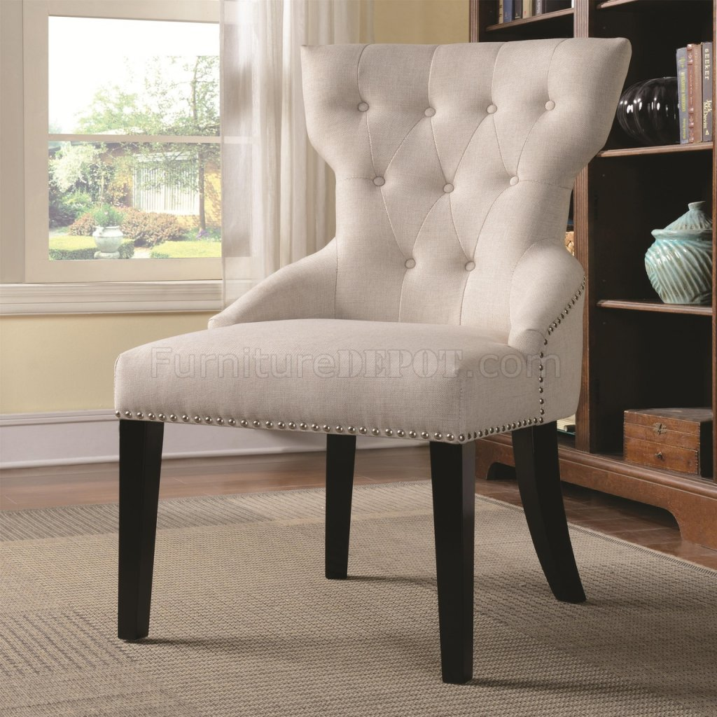 Cream Accent Chair 902238 Accent Chair Set Of 2 In Cream Fabric By Coaster