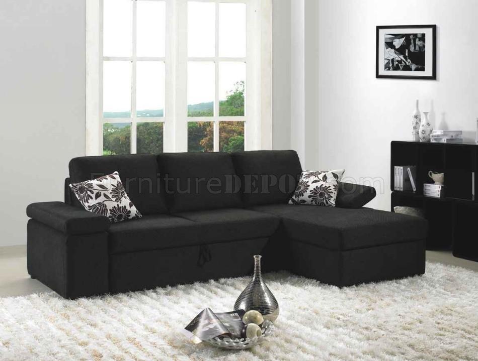 Black Fabric Modern Sectional Sofa Set W/Bed