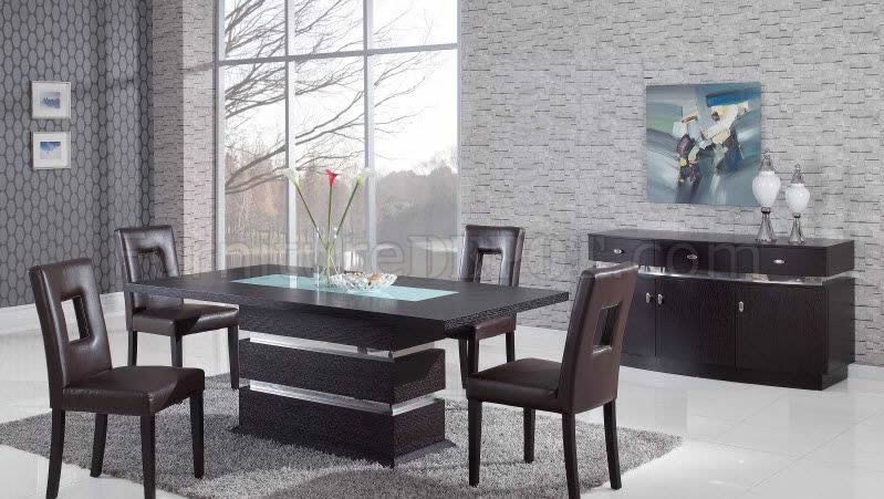 Brown Modern Pedestal Dining Table W/Glass Inlay & Options