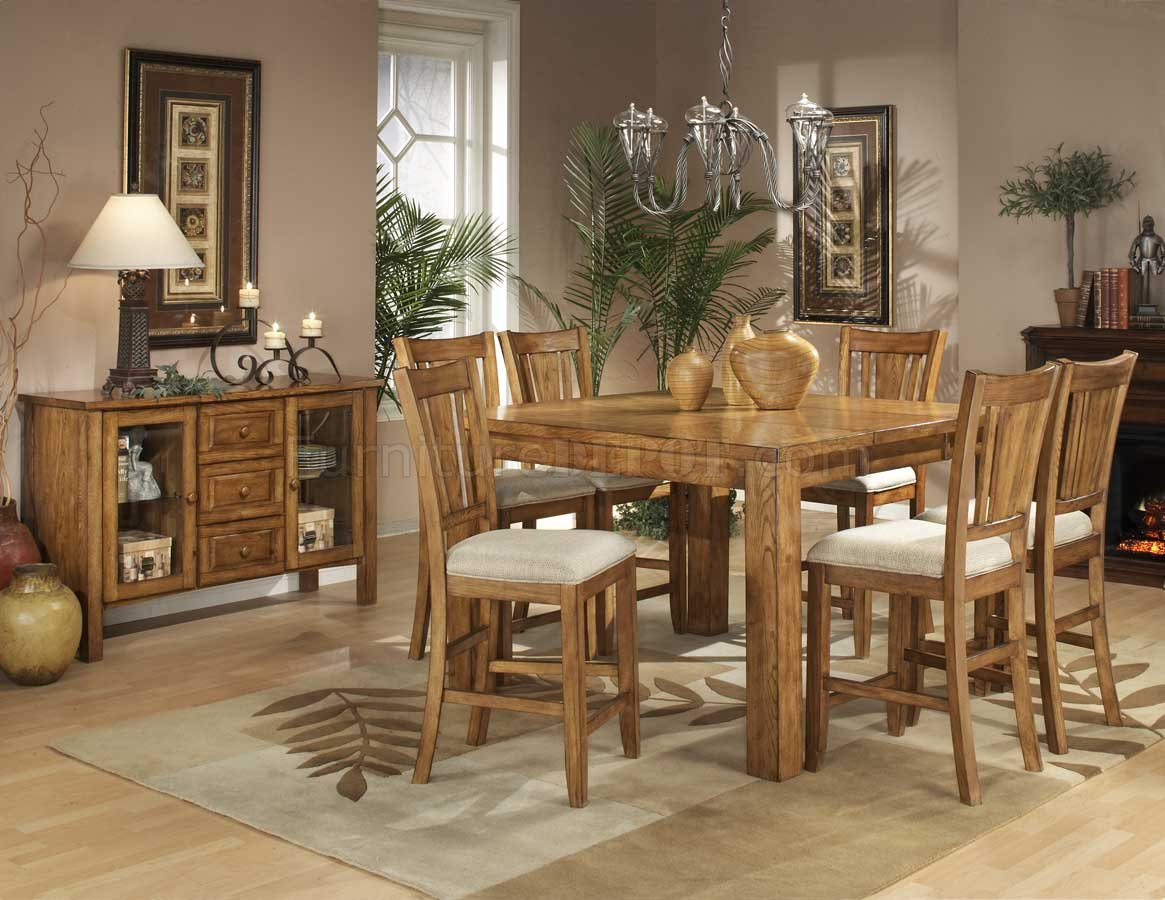 Natural Oak Finish Counter Height Table W/Optional Chairs