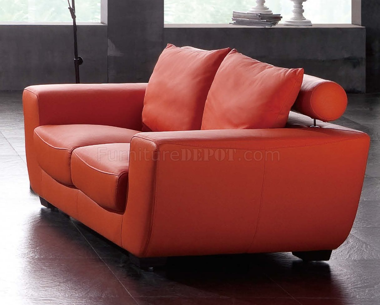 Orange Leather Chair Orange Leather Sofa And Loveseat Myia 62 Leather Loveseat