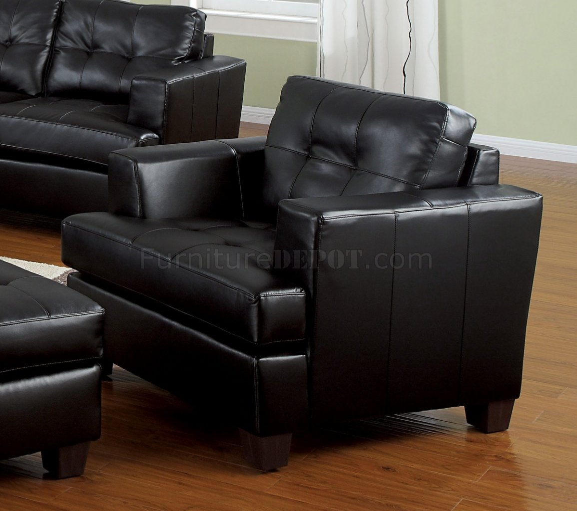Leather Living Room Chair Bonded Leather Living Room 15090 Black