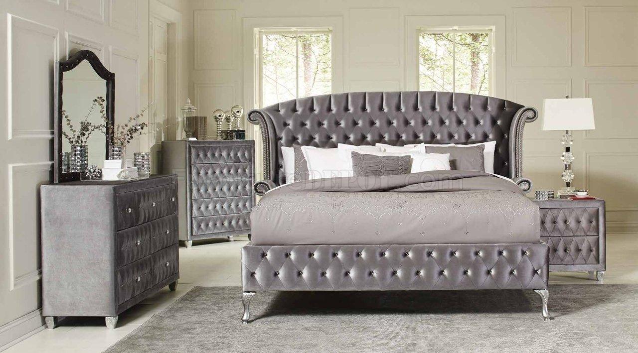 Deanna 205101 Bedroom In Grey Velvet By Coaster W/Options