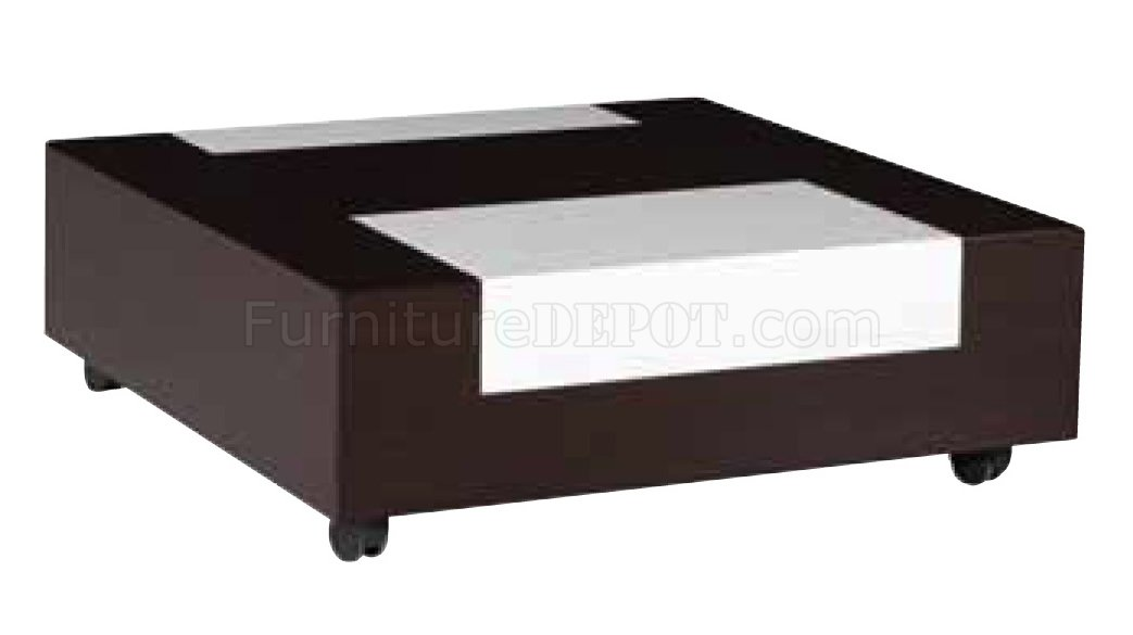 Brown & White Modern Two-Tone Wooden Coffee Table W/Casters