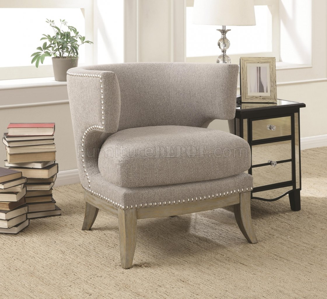 Grey Accent Chairs 902560 Accent Chair In Grey Chenille Fabric By Coaster