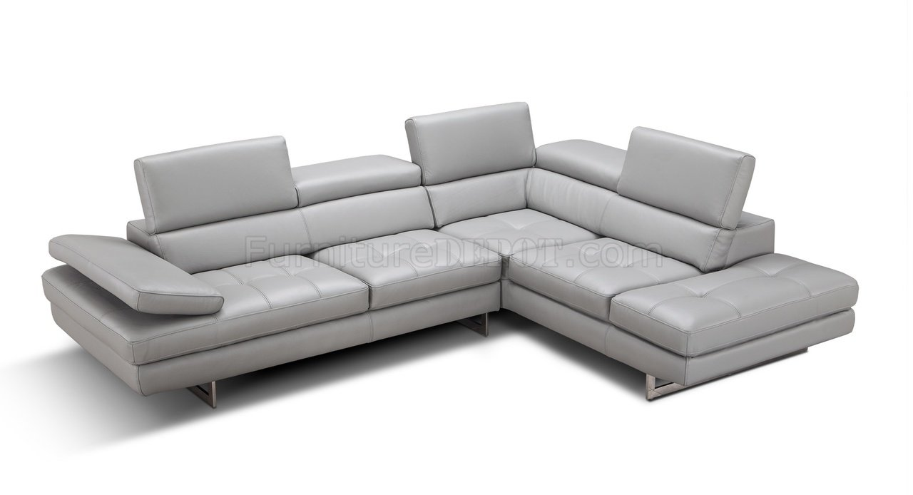 Aurora Sectional Sofa In Light Grey Premium Leather By J&M