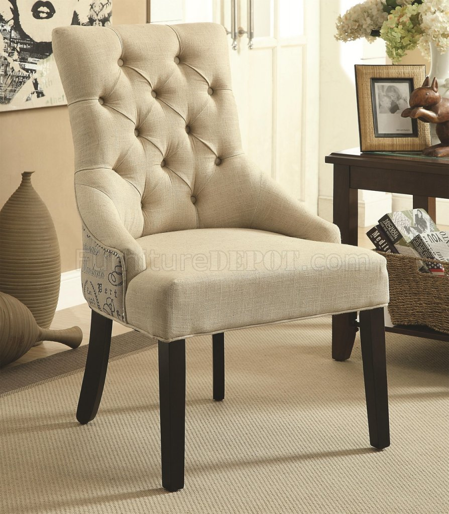 Coaster Accent Chair 902171 Accent Chair Set Of 2 In Beige Fabric By Coaster