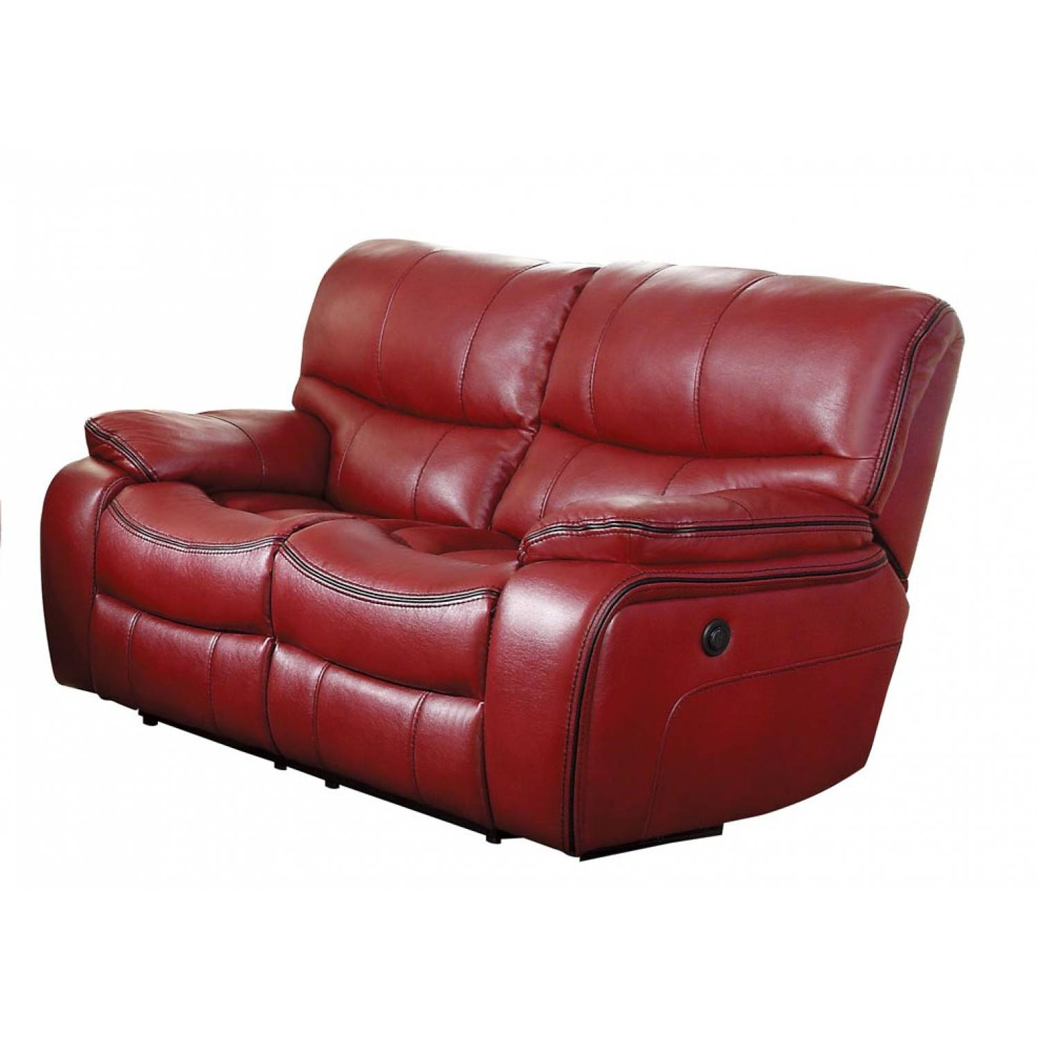 Double Recliner Chair Pecos Power Double Reclining Love Seat Leather Gel Match Red