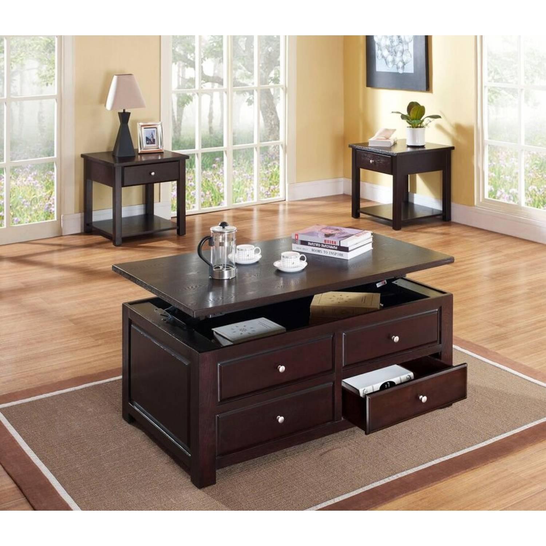 80257 80258 2 3pc Sets Espresso Coffee Table W Lift 2 Espresso End Table