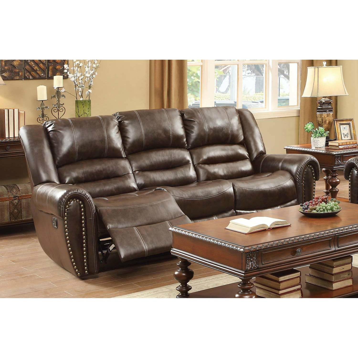 bonded leather reclining sofa set raymour and flanigan bed reviews center hill dark brown