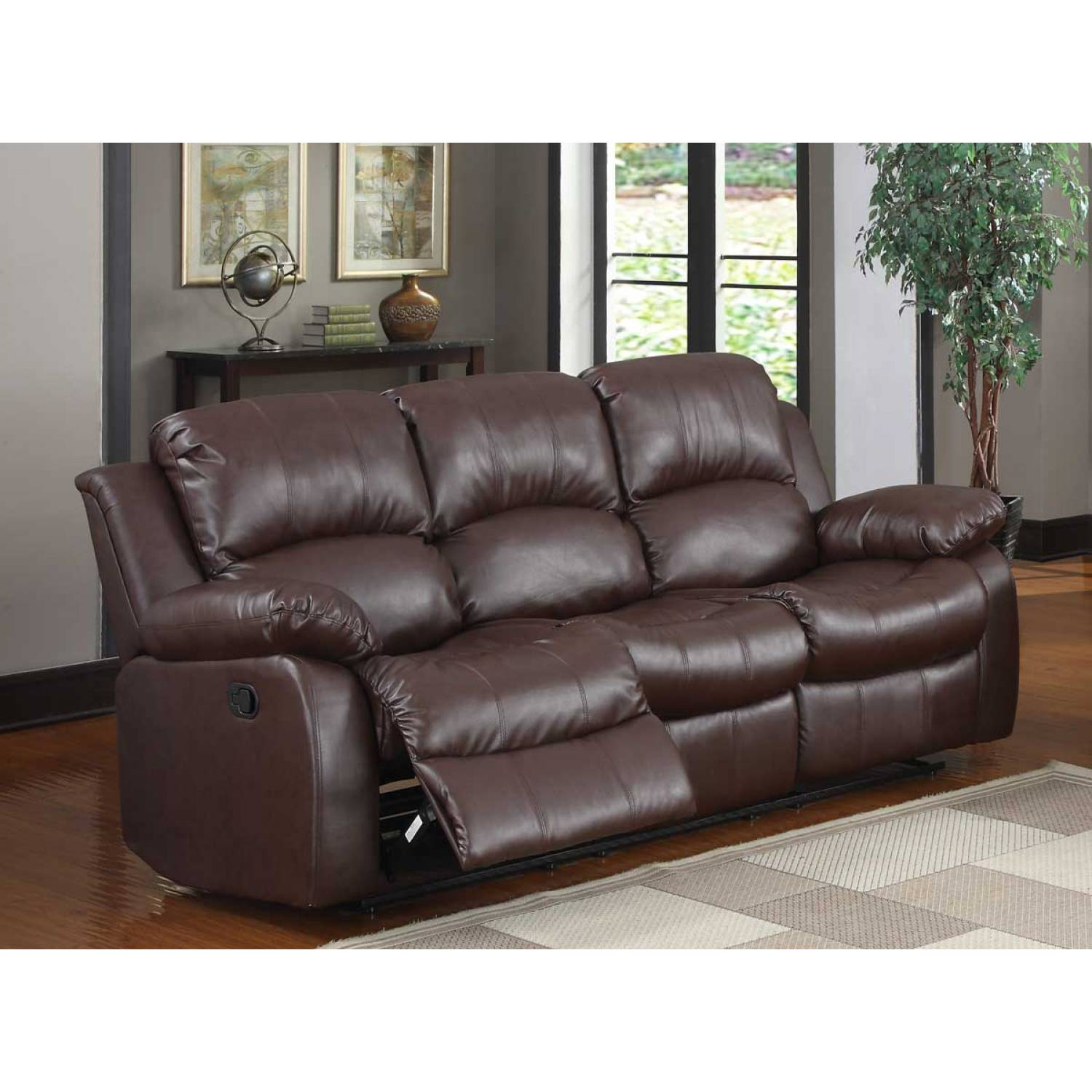 angus bonded leather reclining sofa all modern set 2pc cranley brown