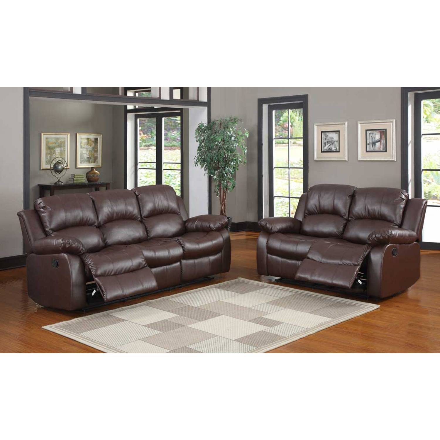 bonded leather reclining sofa set accent pillows for brown 2pc cranley