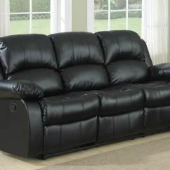 Angus Bonded Leather Reclining Sofa Ikea Sectional Review Cranley Double Black