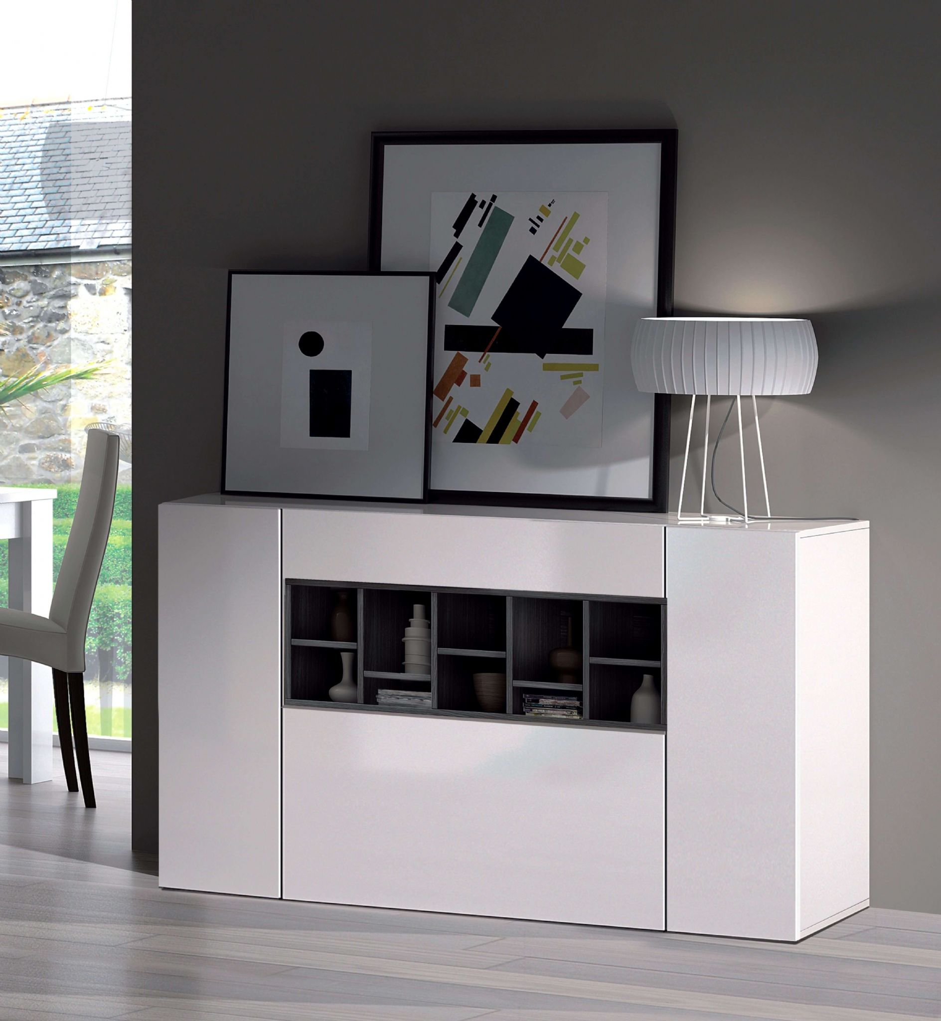 Sideboard Modern Amone Grey And White Large Modern Sideboard - Sale