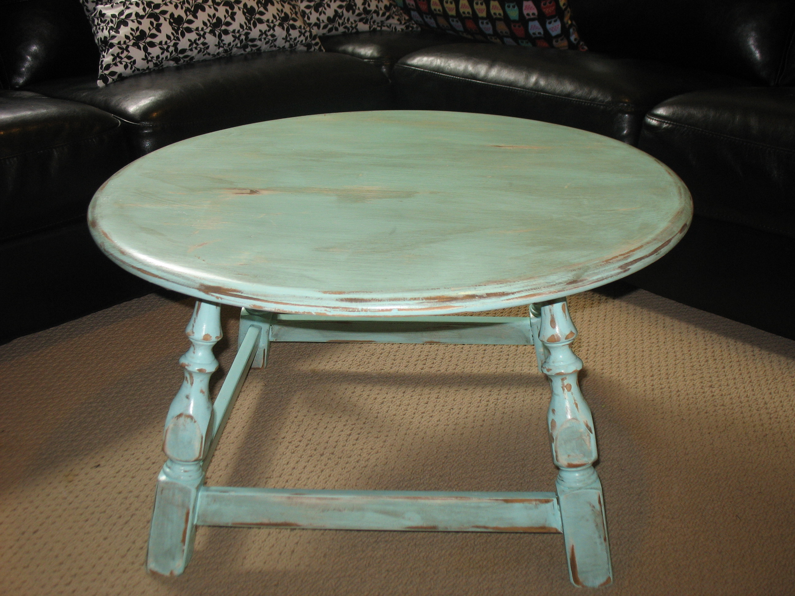 Blue Round Coffee Table  50  SOLD  Ladybirds Vintage