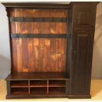 Hall Tree with Side Storage Cabinet and Double Row Of Coat ...
