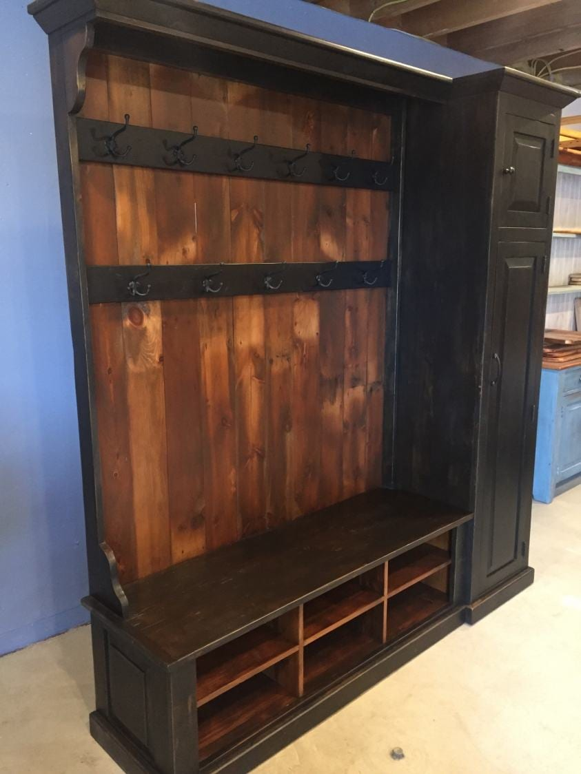 Hall Tree With Side Storage Cabinet And Double Row Of Coat