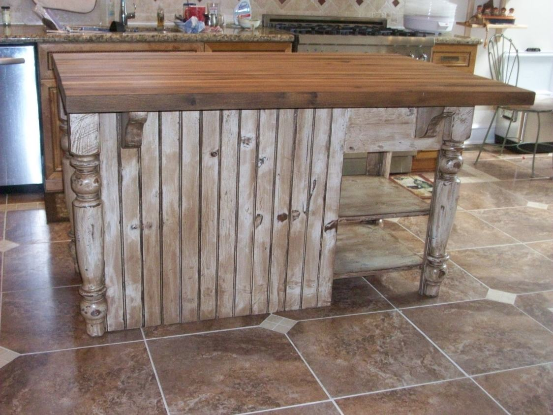 distressed kitchen island butcher block best backsplash white with