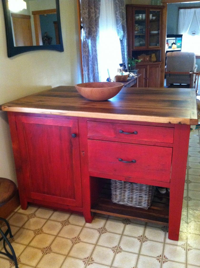 kitchen corner shelf traditional cabinets red & oak top island | furniture from the barn